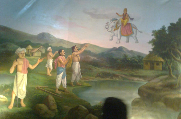 Painting of Krishna coming down from heaven to the farmers below