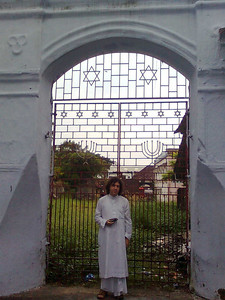 Michael in front of the Jewish synagogue grounds in Jew-Town, Kerala